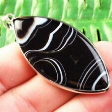 F36357 Wrapped Black White Onyx Agate Olivary Pendant Bead 55x25x4mm