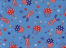 Patriotic Cupcakes Quilting Fabric by the Yard - PATR108