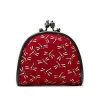 [INDEN-YA] Coin purse 72H 1105 dragonfly /Red x White made in Japan