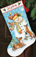 """Dimensions Counted Cross Stitch Kit 16"""" Long-Winter Friends Stocking (14 Count)"""