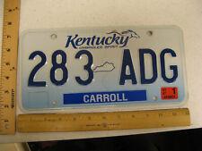 2007 07 KENTUCKY KY LICENSE PLATE #283 ADG NATURAL STICKER CARROLL COUNTY