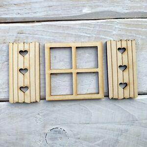 Wooden FAIRY DOOR WINDOW Miniature Doll House Window Square Shutter 9 Pieces