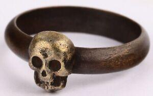 Memento Mori ww2 RING STERLING Silver SKULL ww1 WWI Freemasonry MASONIC Rare