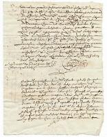 1663 LOUIS XIV royal notary autograph manuscript 2p nice signatures with flower