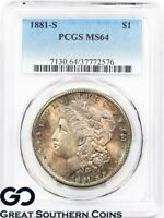 1881-S PCGS Morgan Silver Dollar MS- 64 ** Beautiful Rainbow Toner, Free S/H!