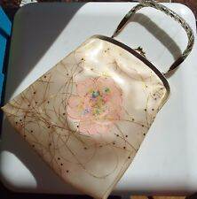 Vintage 1950s clear vinyl ivory gold tinsel handbag with flower feature