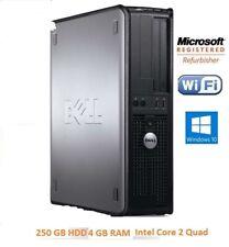 Fast Dell Desktop Tower Intel Core 2 Quad 250Gb 4 GB Ram Windows 10 Home
