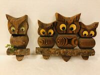 VTG 4 Cryptomeria Wood Carved Owls on Branches Wall Hanging Key Holder Felt Eyes