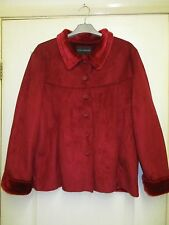 Red Faux Suede Jacket with Red Faux Fur Lining Size L Chest 40 from Centigrade.