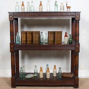 Large Antique Oak Open Bookcase Buffet Bookshelves Shelving Solid Carved