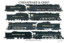 """Chesapeake & Ohio Steam Locomotives 11""""x17"""" Poster by Andy Fletcher signed"""