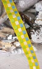 SALE 50 %, 10  Meter Band,Geschenkband, Gelb Grün Blau,Karo,Organza Satin, 10 mm