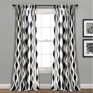Mid Century Geo Room Darkening Window Curtain Panels Black/Gray Set 52x84