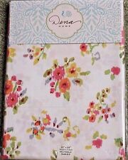 Dena Home ATHENA Floral Ikat Fabric Tablecloth 60 x 120 White Pink Green Cottage
