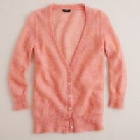 J Crew Women's Mohair Boyfriend Cardigan V Neck Long Sleeve Sweater Coral Small