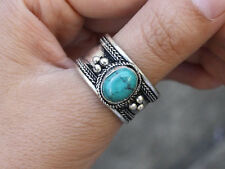 Large Adjustable Tibetan Big Oval Turquoise Gemstone Weaving Dotted Amulet Ring