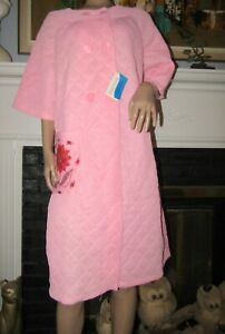 Vtg Pink Silkisoft Quilted House Coat Robe NWT BEAUTIFUL Sz 16