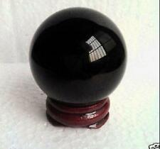 40MM +Stand Glassl Black Obsidian Sphere Large Glass Crystal Ball Healing #518