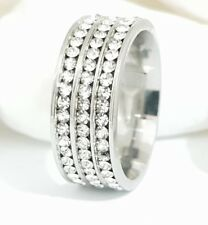 18K IP White Gold Stainless Steel Simulated Lab Diamond Band Micropave Size UK N