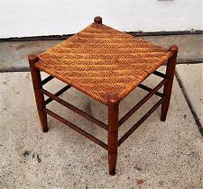 "Antique shaker style Woven Cane/Reed Foot Rest/Foot Stool 15"" x 15"" Excellent"