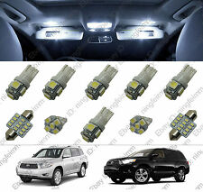 10x White LED lights interior package kit for Toyota Highlander 08-16
