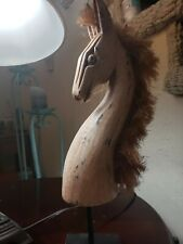 Scary haunting Hand carved statue solid wood tribal art decore ghost home deco