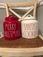"""Rae Dunn """"MERRY CHRISTMAS"""" Red Canister & Santa's Cookies White Canister"""