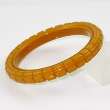Vintage Bakelite Bracelet Bangle geometric deep carved spacer butterscotch color