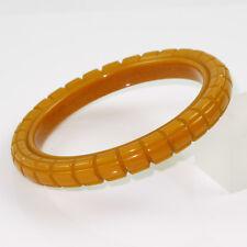 Vintage Bakelite Bracelet Bangle geometric deep carved spacer butterscotch color
