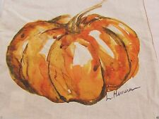 """POTTERY BARN THANKSGIVING  PAINTED LARGE PUMPKIN PATCH  20"""" SQ PILLOW COVER NEW"""