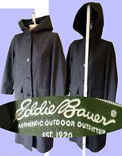 EDDIE BAUER trench coat WOOL blend grey hooded LONG pea winter blend