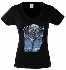 NIGHTWISH BAND 1 Lady Black T-shirt Rock Woman V-neck Rock Band Shirt