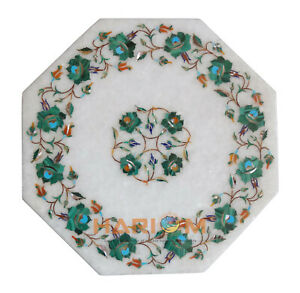 "12"" Marble Octagon Coffee Table Top Malachite Floral Inlay Kitchen Decors W273"