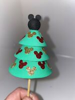 DISNEY CHRISTMAS TREE GREEN RED GOLD SPARKLES MICKEY EARS Antenna Topper BALL