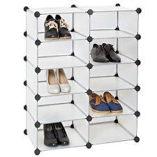 Etagère enfichable penderie à chaussures rangement modulables système clip blanc