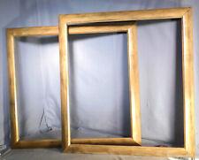 Pair Vintage Modern Reverse Cushion Gilt Leaf Picture Frames 24x26 Crazed Glaze