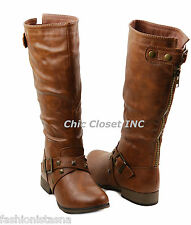 NEW Women Riding Tall Knee High Faux Leather Equestrian Fashion Buckle Boots