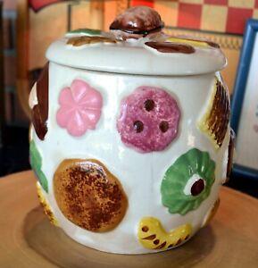 "Napco Cookies All Over Cookie Jar Walnut Knob Lid 1950s Napcoware 8""H Vintage"