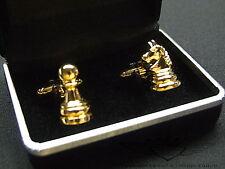 Manschettenknöpfe, 24 Karat vergoldet, Gold, Herrenschmuck, Schachfigur, Schach,