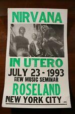 Nirvana Concert Poster Show Print July 23 1993 Roseland New York City In Utero