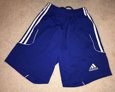 Adidas Shorts Girls Boys Size Sz S 8 10 12 Blue w White Stripe Soccer Sports