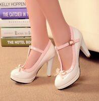 Fashion Womens High Heel Bowknot Pumps Lolita T-Strap Buckle  Shoes Plus Size o