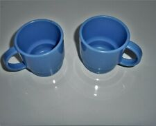 Tupperware Country Blue Cups #2224 Tabletop Mugs Stackable Handle Lot of 2