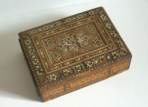 Vintage Wooden Puzzle Box for Restoration Repair Marquetry Japanese Antique Worn