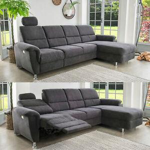 Ecksofa Eckgarnitur L-Couch Parole anthrazit elektrische Relaxfunktion 292x165