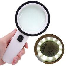 30X High Power Handheld Magnifying Glass Led Light Jumbo Illuminated Magnifier A