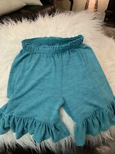 PERSNICKETY Boutique Teal Ruffle Bottom Shorts GIRLS SZ 6 YRS