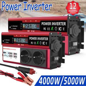 4000W 5000W Spannungswandler DC 12V AC 230V Spitze Wechselrichter Solar Auto LCD