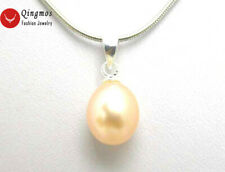 """7-9MM Natural Pink Drop Pearl 16"""" Chokers silver-plated Pendant Necklace nec5168"""