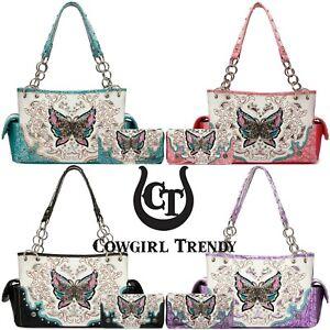 Butterfly Western Style Handbag Concealed Carry Purse Women Shoulder Bag Wallet